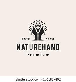 tree hand nature leaf water drop hipster vintage logo vector icon illustration