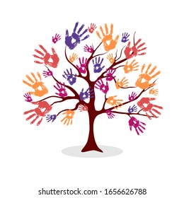 The tree from the hand prints. Eco concept for your design. Tree made of diverse handprints shape. Community help concept illustration.