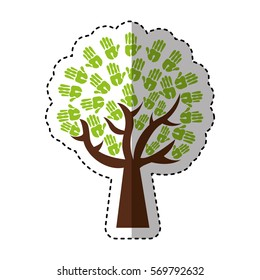 tree hands print paint around vector illustration design