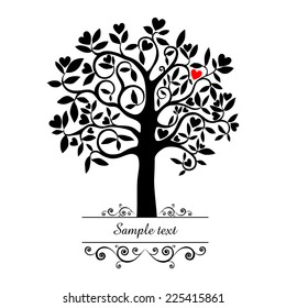 Tree with heart isolated on White background. Vector illustration