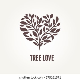 Tree heart with leaves. Vector icon and symbol