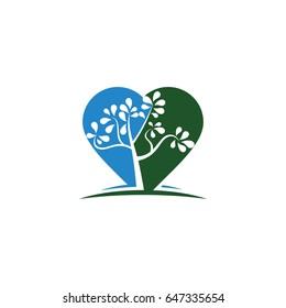 tree heart logo template vector illustration