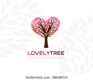 Tree with heart shaped crown. Logo template. Concept icon for real estate, organic product store, vegan cafe.