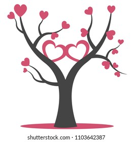 Tree of hearts. Suitable for paper cutting and laser die cutting.