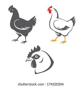 Tree hen (chicken) icons: head and two silhouettes