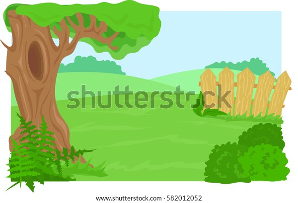 tree with a hollow, meadow, fence