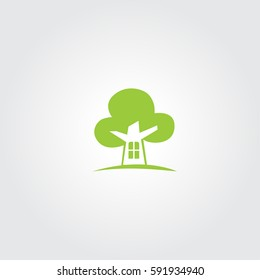 Tree And Home Vector logo