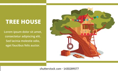 Tree House Building Banner. Treehouse Construction Vector Illustration. Game Playhouse in Forest Garden Park. Children Clubhouse Fun Game. Wooden Hut Cottage. Summer Season Tire Swing