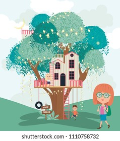 Tree House Cartoon Illustration Kids Editable Stock Vector Royalty Free 1110758732 See what fans think and vote for your favorite treehouse tv these top treehouse tv shows for kids include favorites such as toopy and binoo, the berenstain bears, and the cat in the hat. shutterstock