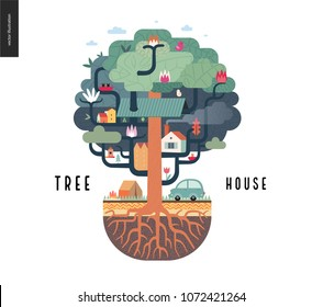 Tree house concept - a tree with houses, birds, nest, flowers and birdhouse on it, a car and tent with bonfire under it, and ground cut with soil layers and trees roots - summer camp vacation concept