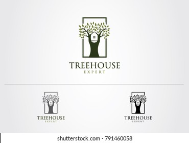Tree House Expert Logo Sign Symbol Icon