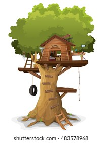 Tree House/ Illustration of a cartoon kid's tree house, constructed in a big oak with home objects and accessories inside, isolated on white background
