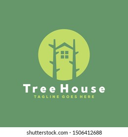 Tree House Logo design. Nature Emblem vector concept and Modern icon. Shape Symbol. Logo for Company and Business.