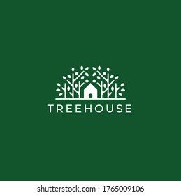Tree House Logo Design Template Vector illustration