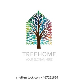 Tree house logo template. Vector illustration of organic building from leaves