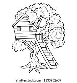 Tree house. House on tree for kids. Children playground with  ladder. Flat style vector illustration.