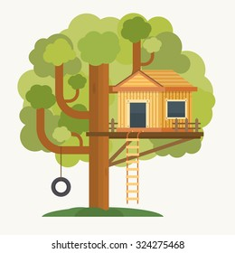 Tree house. House on tree for kids. Children playground with swing and ladder. Flat style vector illustration.
