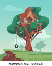 Tree house. Vector flat cartoon illustration
