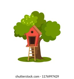 Tree house, wooden hut on green tree with ladder for kids outdoor activity vector Illustration on a white background