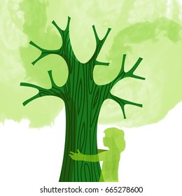 Tree hug illustration with kid silhouette and green watercolor background. Environment care concept design for nature help project. EPS10 vector.