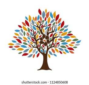 Tree with human hands together. Community team concept illustration for culture diversity, nature care or teamwork project. EPS10 vector.