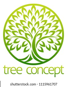 Tree icon concept of a stylised tree with leaves in a circle, lends itself to being used with text