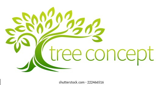 Tree icon concept of a stylized tree with leaves, lends itself to being used with text