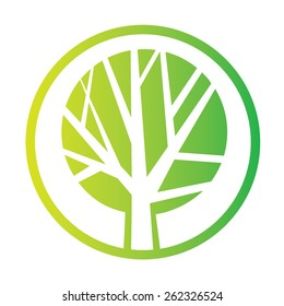 Tree icon concept of a stylized tree with leaves. Green Tree vector logo design template. Garden creative concept. Eco idea ecology icon.