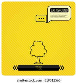Tree icon. Forest wood sign. Nature environment symbol. Chat speech bubbles. Orange line background. Vector.