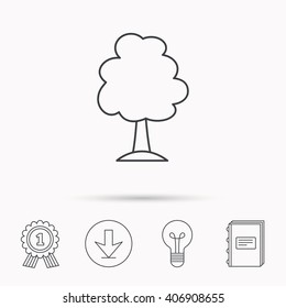 Tree icon. Forest wood sign. Nature environment symbol. Download arrow, lamp, learn book and award medal icons.