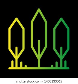 Tree icon gradient vector, forest, park and garden tree flat