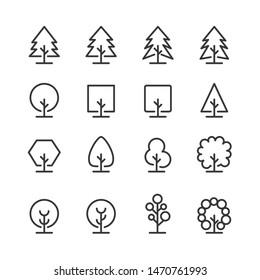 tree icon line set vector