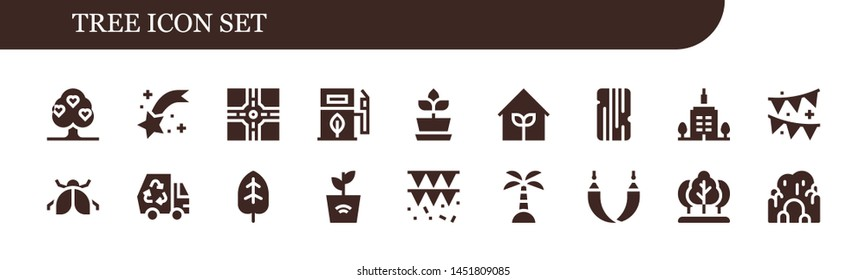 tree icon set. 18 filled tree icons.  Collection Of - Tree, Shooting star, Crossroad, Eco fuel, Plant, Garden, Wood, Skyscrapper, Garland, Ladybug, Eco, Leaf, Island, Hammock