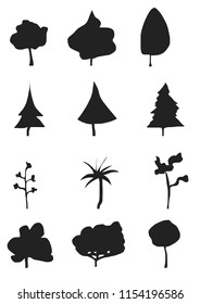 Tree icon set. Abstract silhouettes.