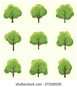 Tree Icon Set - Collection of 9 green trees