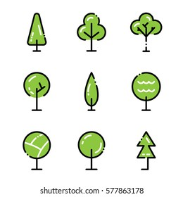 Tree icon set. Collection high quality outline symbols for web design or mobile app. Thin line signs for design logo. Color outline icons on white background