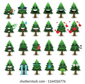 Tree icon set cute trees vector illustration