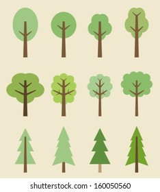 Tree icon set - cute trees cartoon illustration. Nature collection.