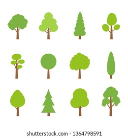 Tree icon set. Green plants with leafs. Forest and garden symbol. Vector illustration.