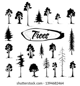 Tree icon set. Hand drawn isolated illustrations.