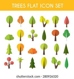 Tree icon set a large set of illustrations in a modern style flat