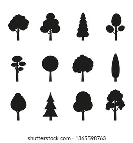 Tree icon set. Plants with leafs silhouettes. Forest and garden symbol. Vector illustration.