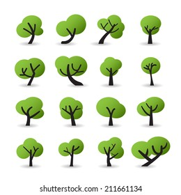 tree icon set with shadow, vector eps10.