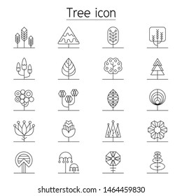 Tree icon set in thin line style