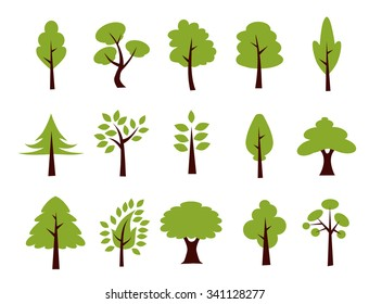 Tree Icon Set - Vector