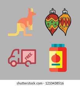 tree icon set. vector set about conserve, kangaroo, truck and bauble icons set.