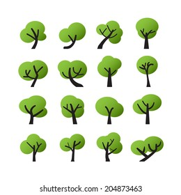 tree icon set, vector eps10.