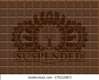 tree icon and Suspended text chocolate realistic emblem. Brown fashionable background. Vector illustration.