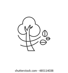 Tree icon in thin outline style. Nature windy forecast