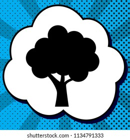 Tree icon. Vector. Black icon in bubble on blue pop-art background with rays.